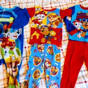 Set of three paw patrol pajamas size 3T